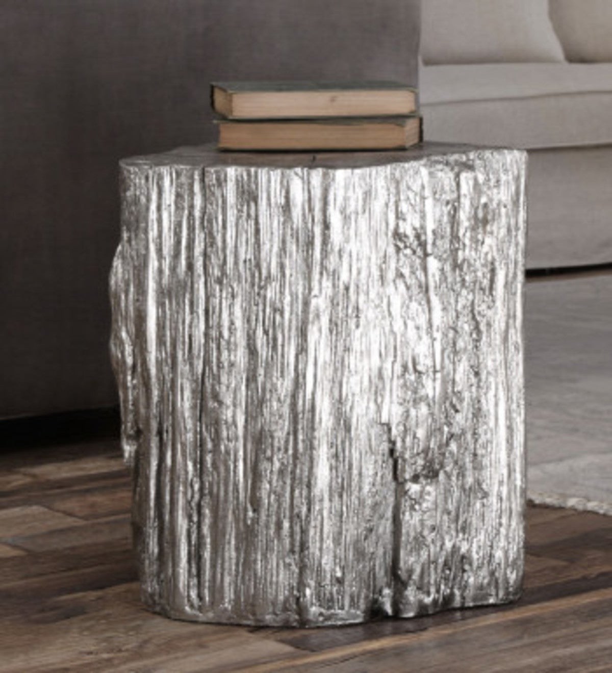 Silver Leafed Faux Stump Stool