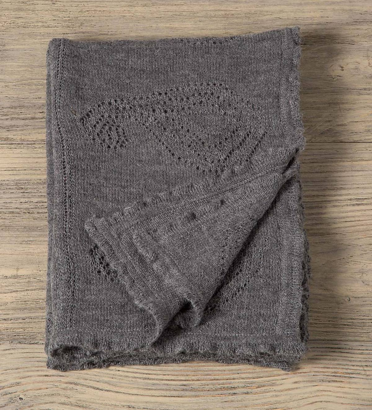 "Baby Alpaca Throw, 47"" x 70"" - Gray"