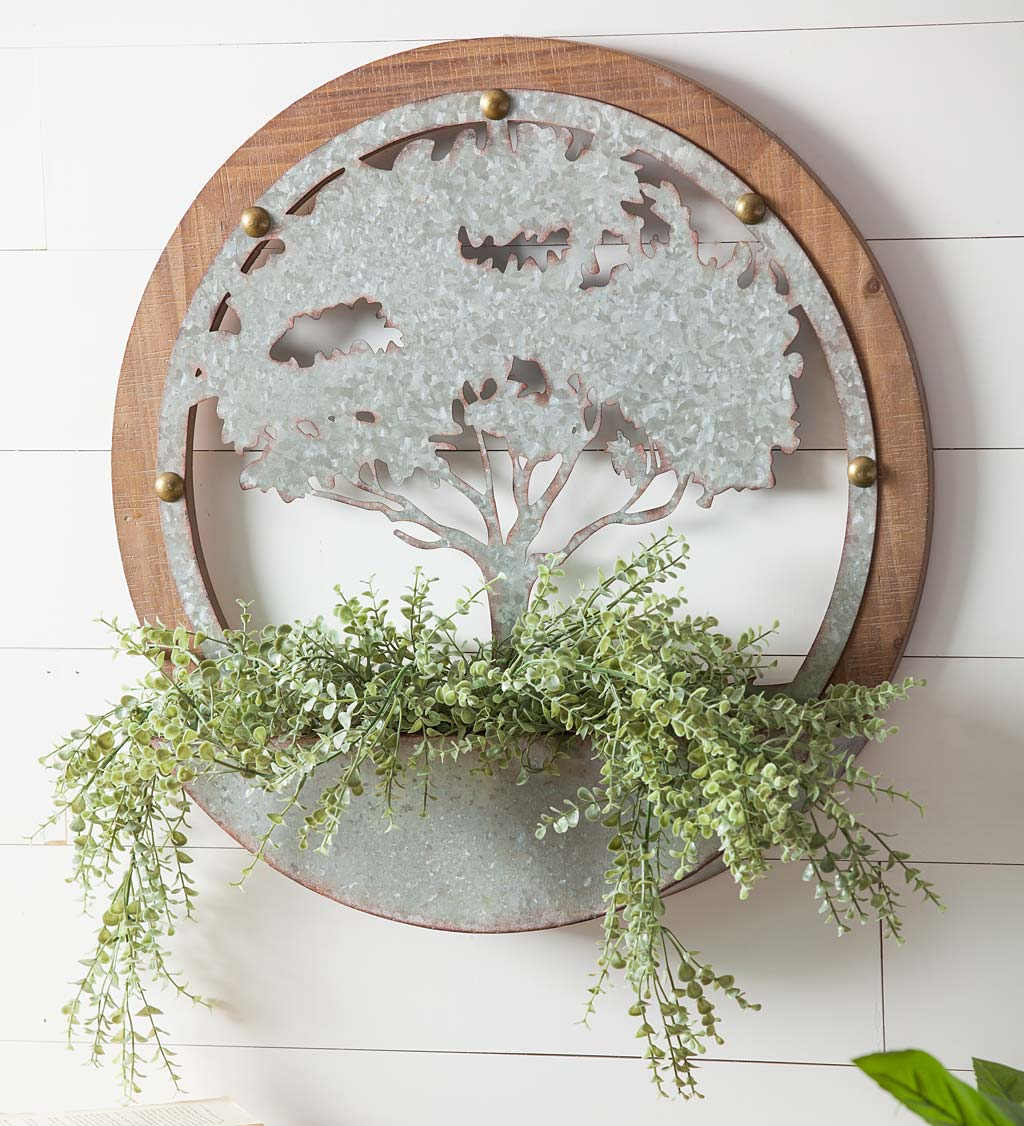 Round Tree of Life Wood and Metal Wall Planter
