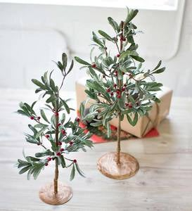 Faux Mistletoe Trees Set of 2