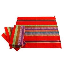 Mayan Woven Napkin Set and Fringed Edge Runner