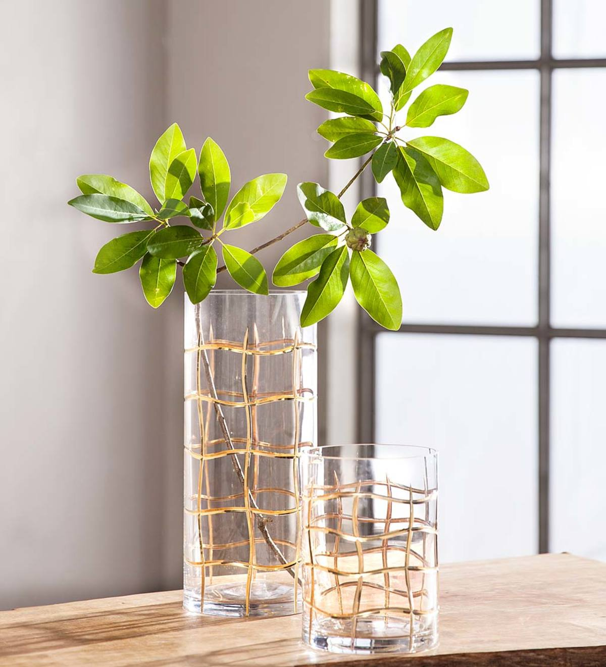 Gold Grid Etched Glass Vases