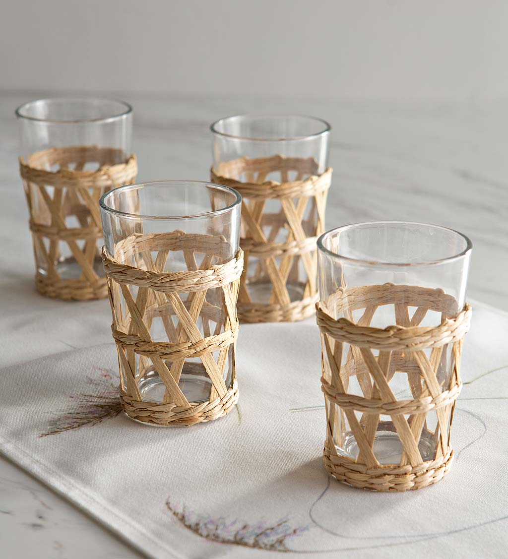 Rattan Wrap Drinking Glasses, Set of 4
