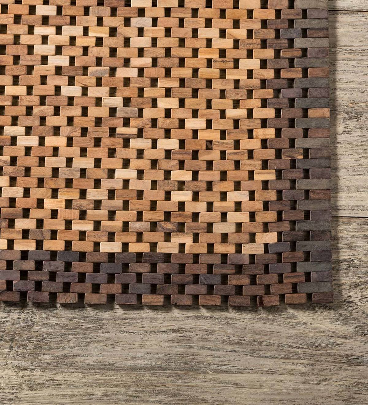 Indonesian Teak Wood Floor Mat