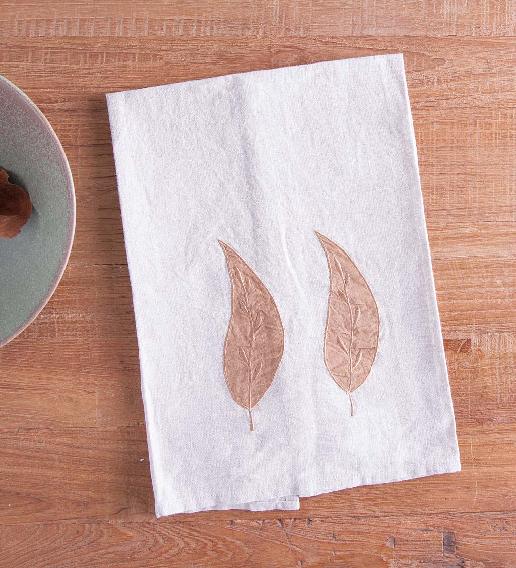 Set of 2 Linen Eco Leaf Kitchen Towels