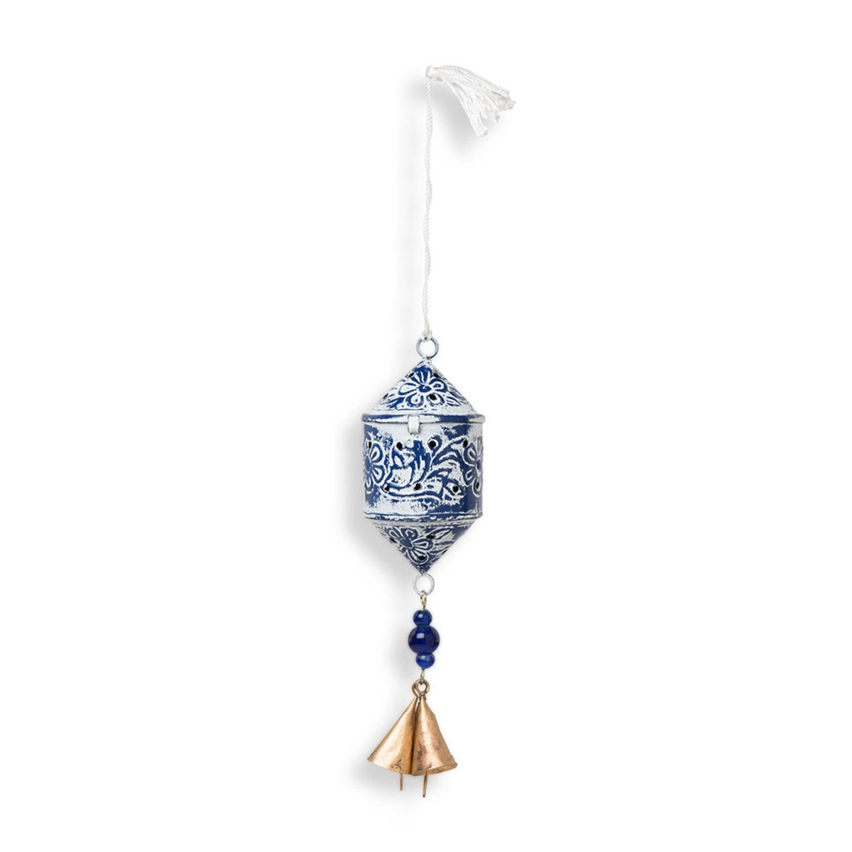 Tasseled Indian Lantern Ornament, Set of 3 Blue/White - Blue and White