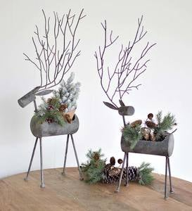 Rustic Grey Metal Deer Planters Set of 2