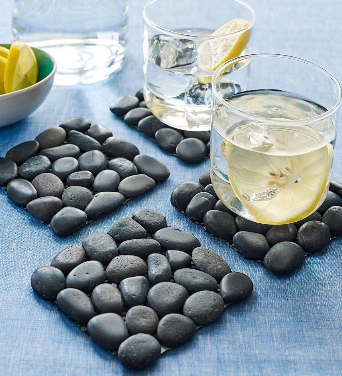 River Stone Coasters - Black