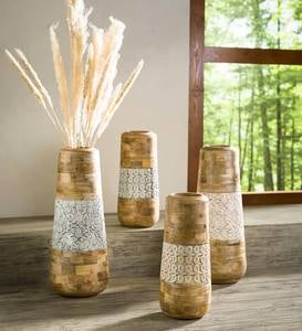Mango Wood and Enamel Vase Collection