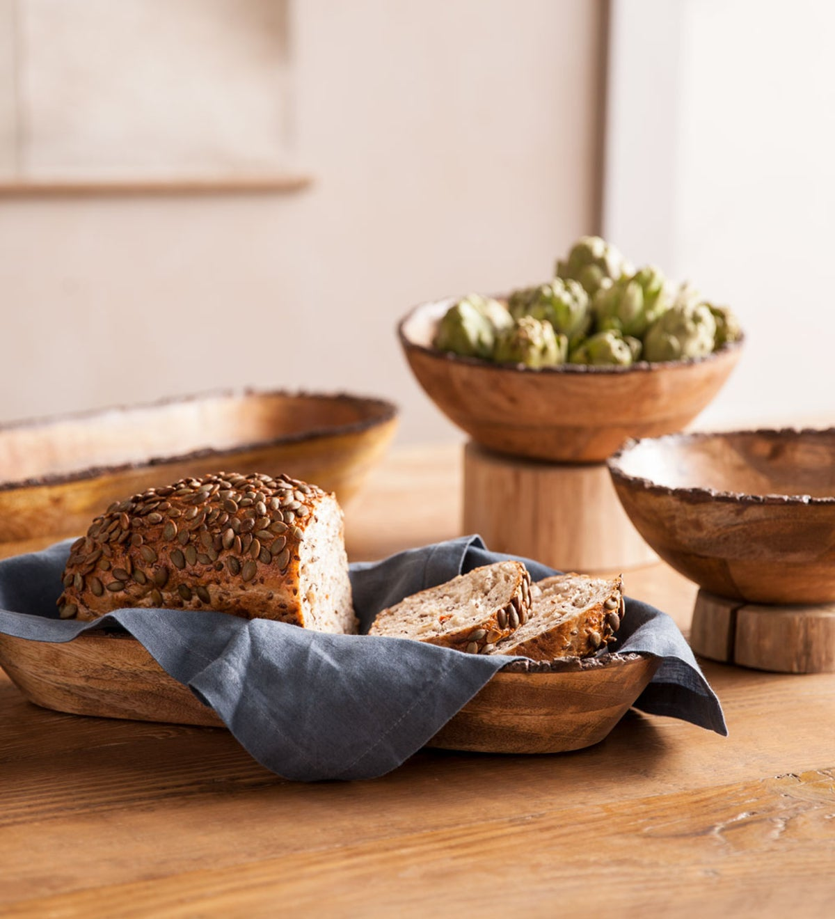 Live Edge Wooden Serving Bowl Collection