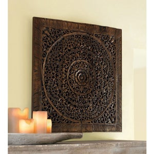 Teak Lotus Handcarved Wall Panels