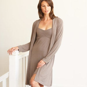 Eco-Weave Long-Sleeved Knee-Length Robe - Black - L-X (10-14)