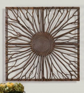 Josiah Square Wood Branch Burst Wall Panel
