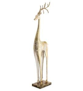 Gold and White Tall Slender Deer Statue Decor, Standing