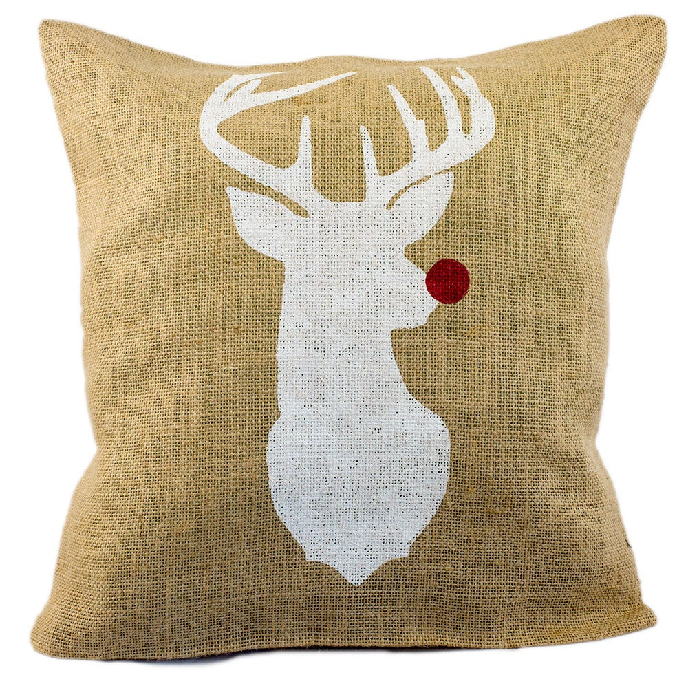 Red Nosed Reindeer Burlap Decorative Pillow Cover