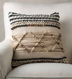 Woven Boho Textured Throw Pillow, Striped Pebble