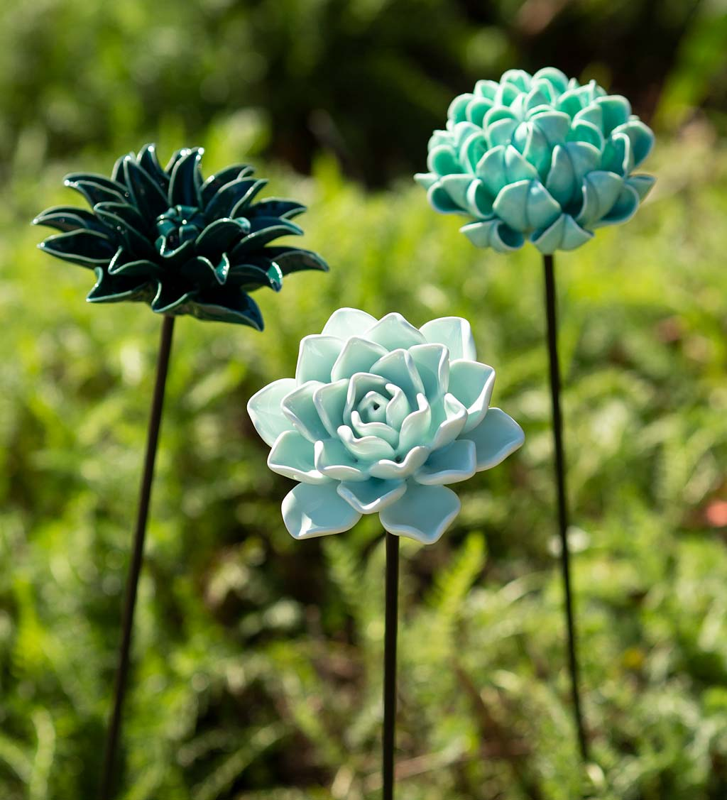 Ceramic Garden Flower Stakes, Set of 3 swatch image