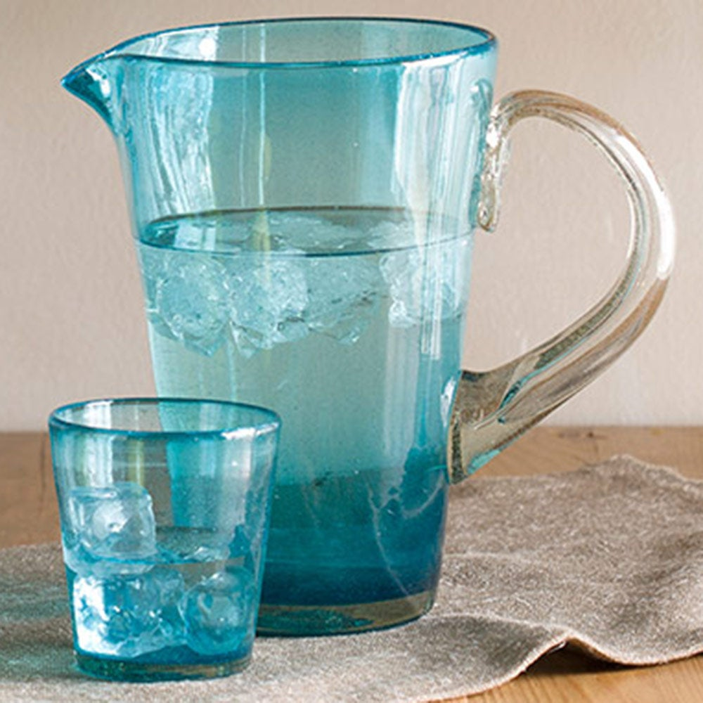 Bright Bubbled Recycled Glass Iced Tea Drink Set - Turquoise