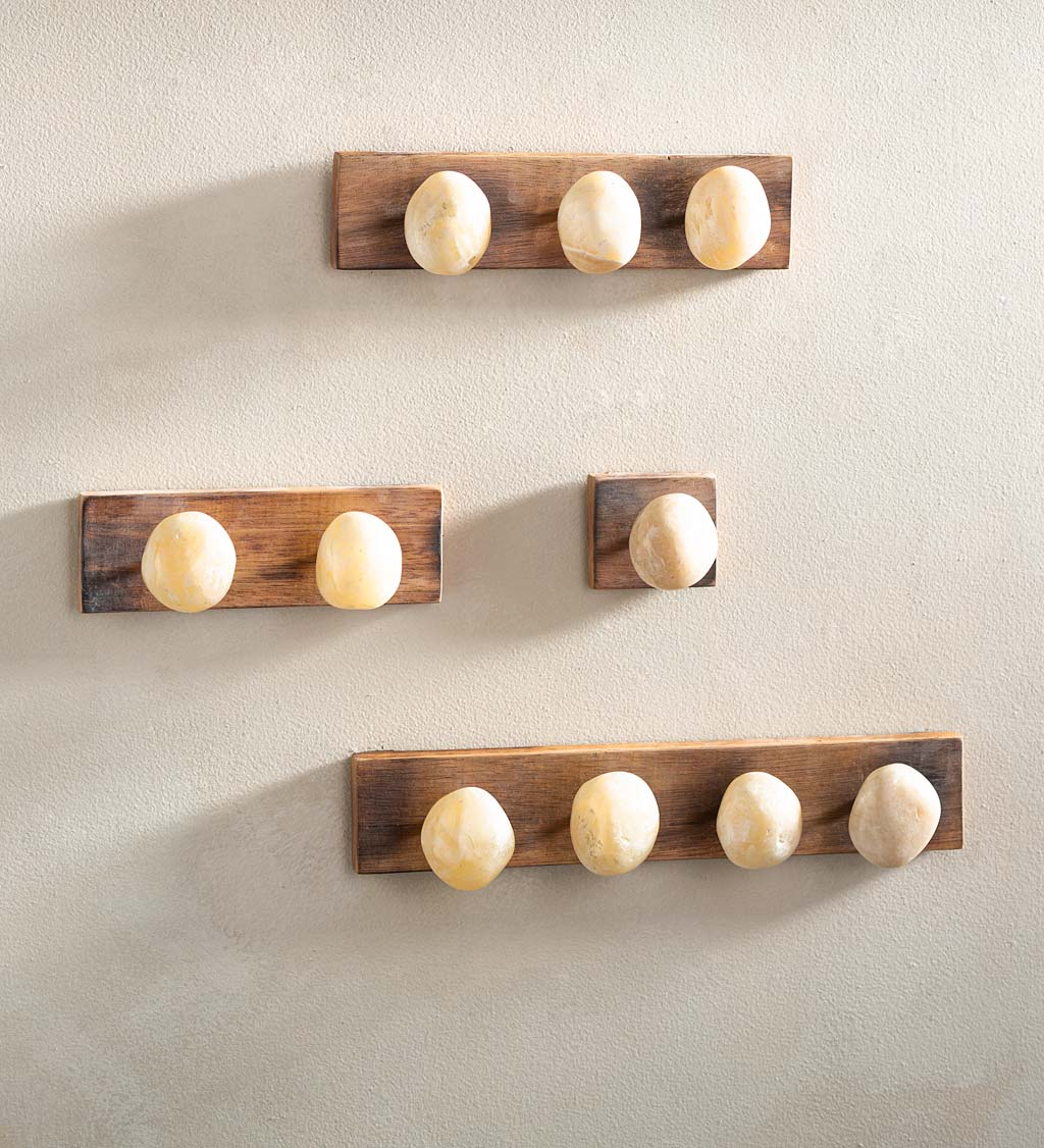 Handcrafted Stone-Shaped Onyx Wall Hooks, 2 Hook
