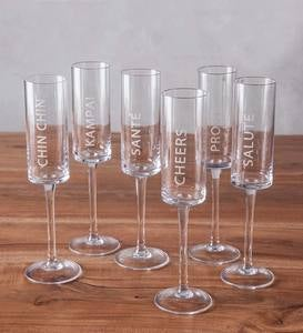 "Multilingual ""Cheers"" Champagne Flutes and Serving Tray"