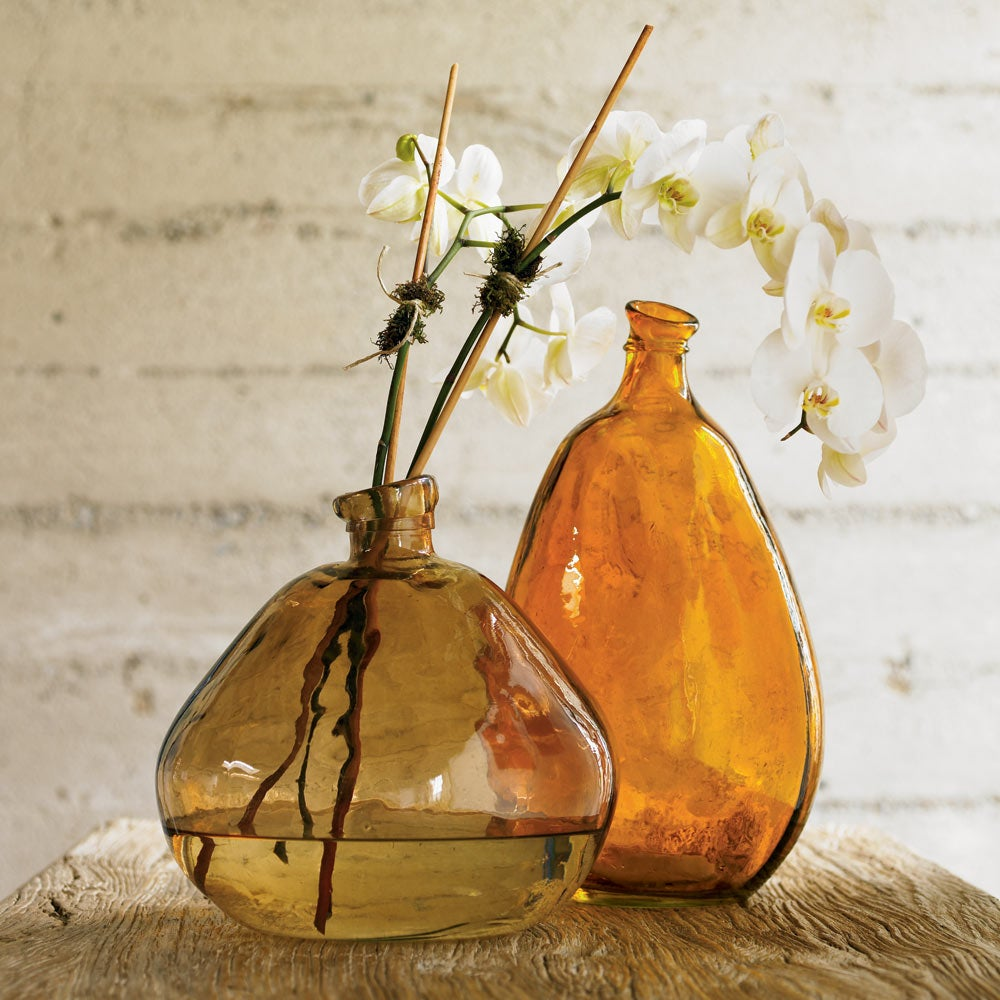 Recycled Glass Balloon Vases, Set of 2