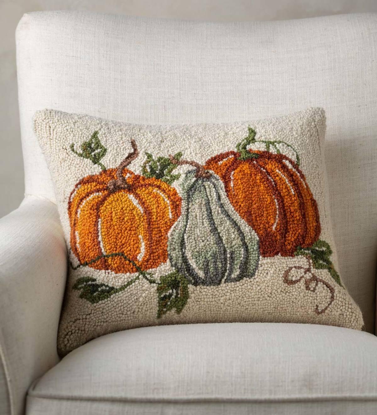 Fall Pumpkins Hand Hooked Wool Decorative Throw Pillow Vivaterra