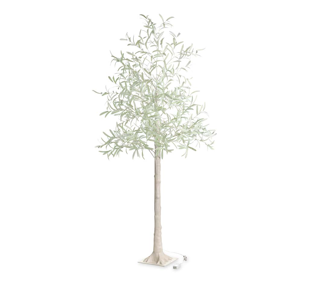 Indoor/ Outdoor Faux Lighted Olive Tree, 7'