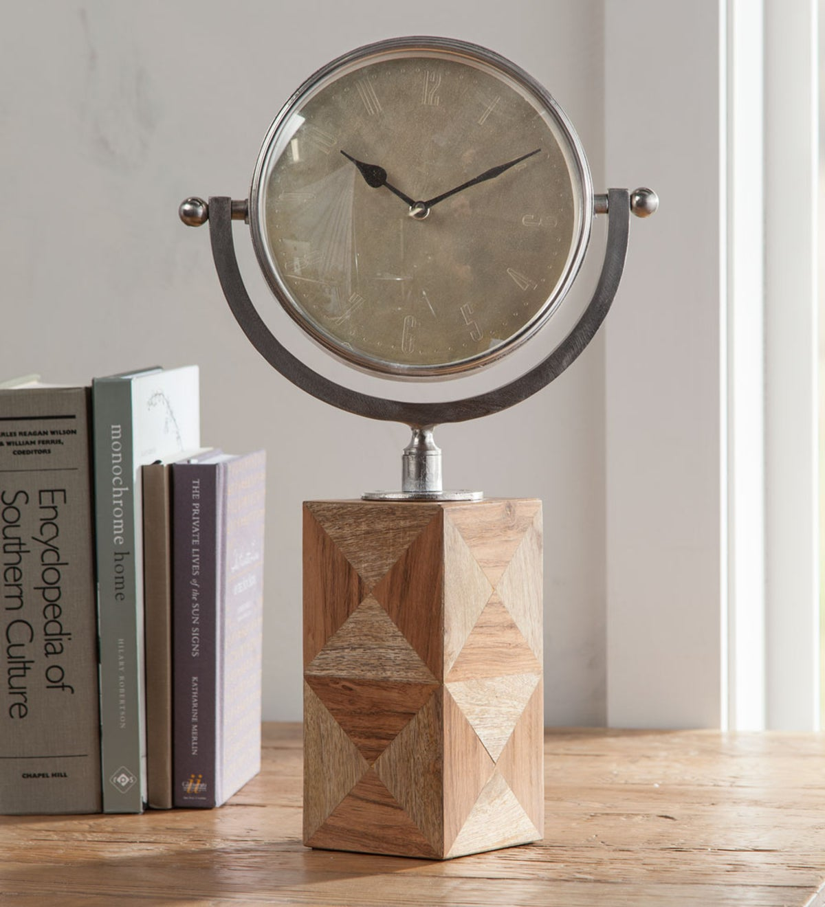 Block Base Swiveling Iron Clock