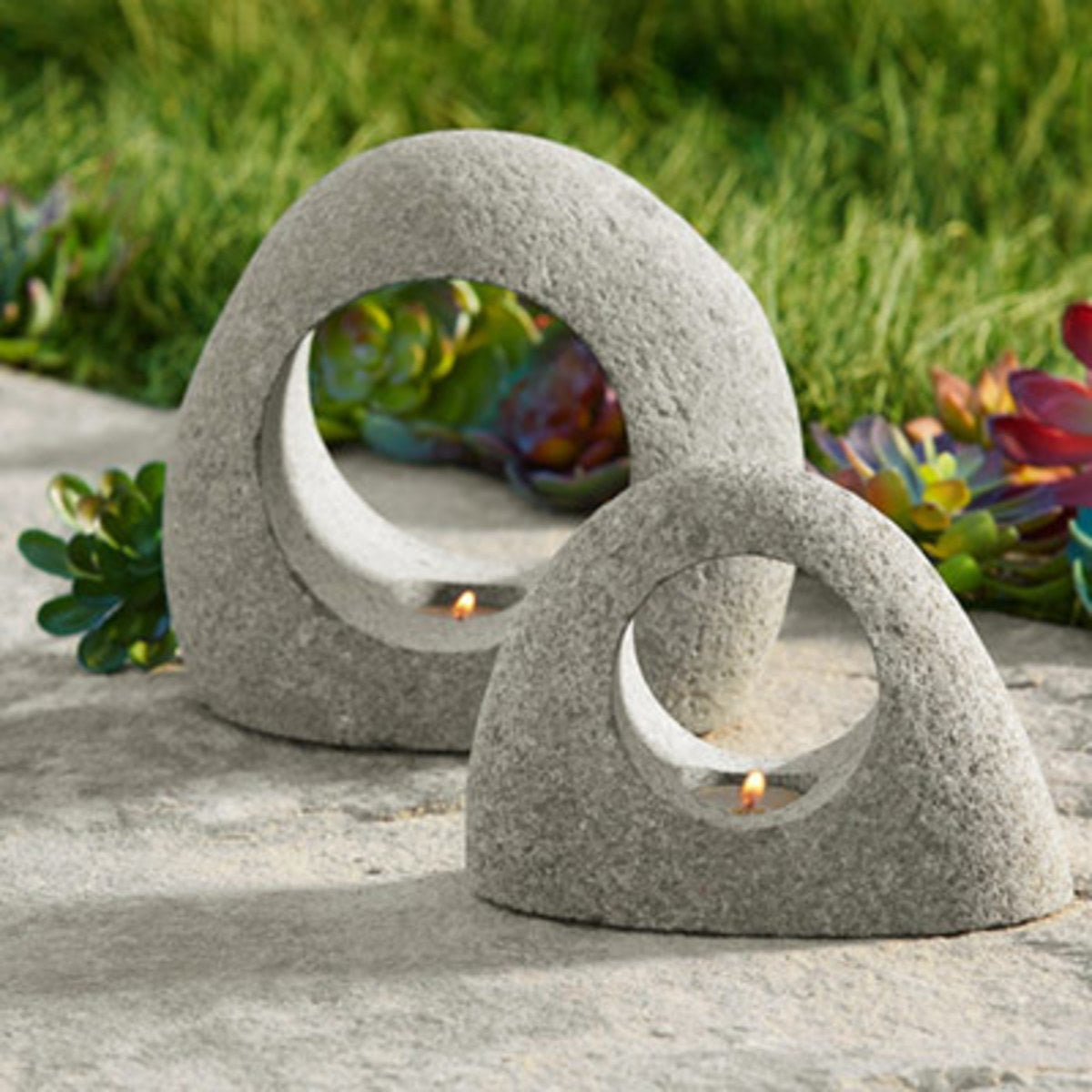 Arched Stone Tealight Holders, Set of 2