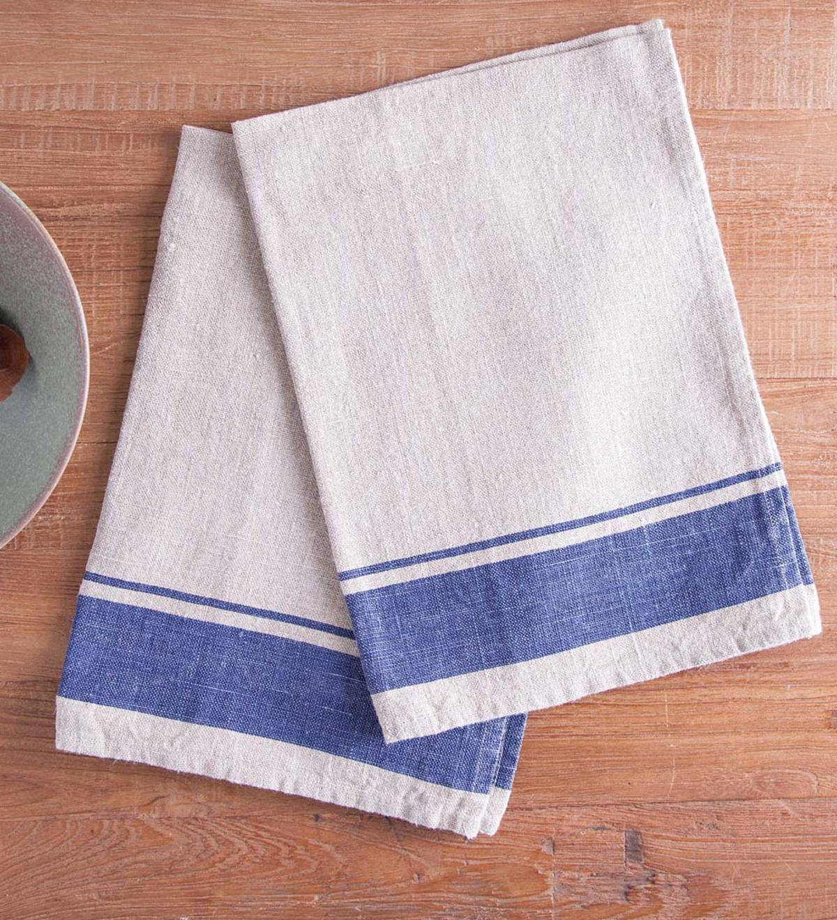Set of 2 Linen French Stripe Kitchen Towels | VivaTerra