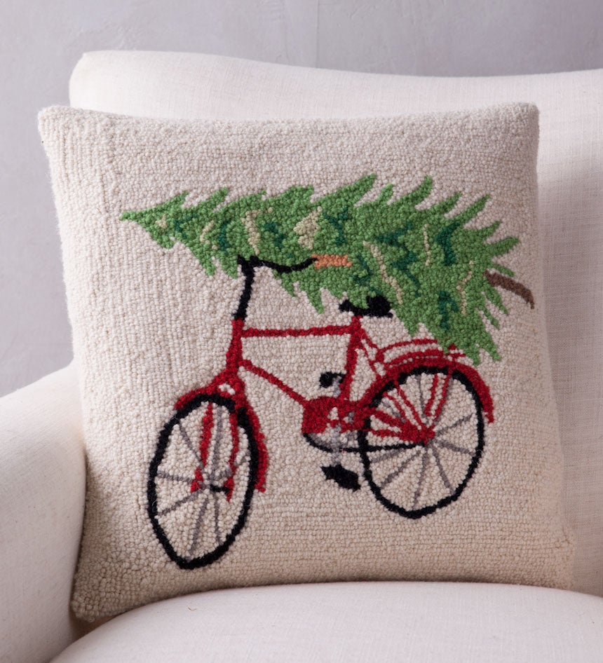 Hand-Hooked Wool Tree on Bike Pillow