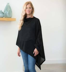 Long Roomy Alpaca Blend Poncho, One Size