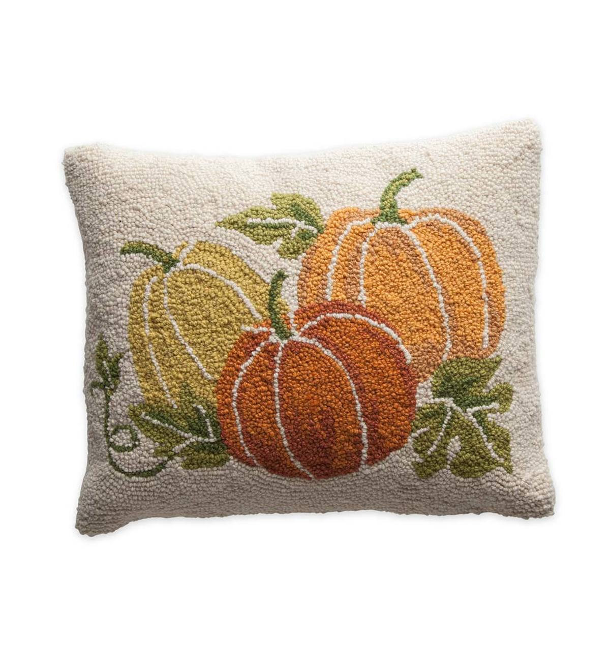 Hand-Hooked Wool Pumpkin Pillow