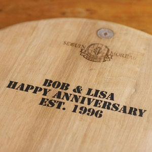 "Personalized Barrel Top Tray, 29"" dia."
