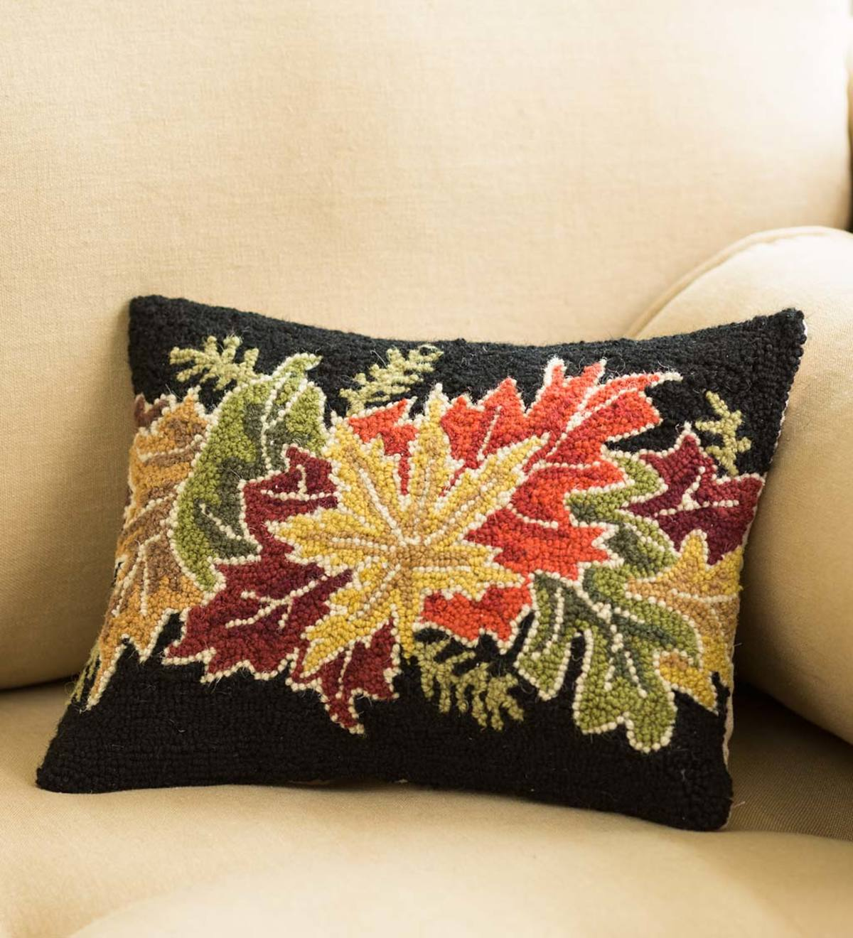 Hand-Hooked Wool Fall Leaves Pillow