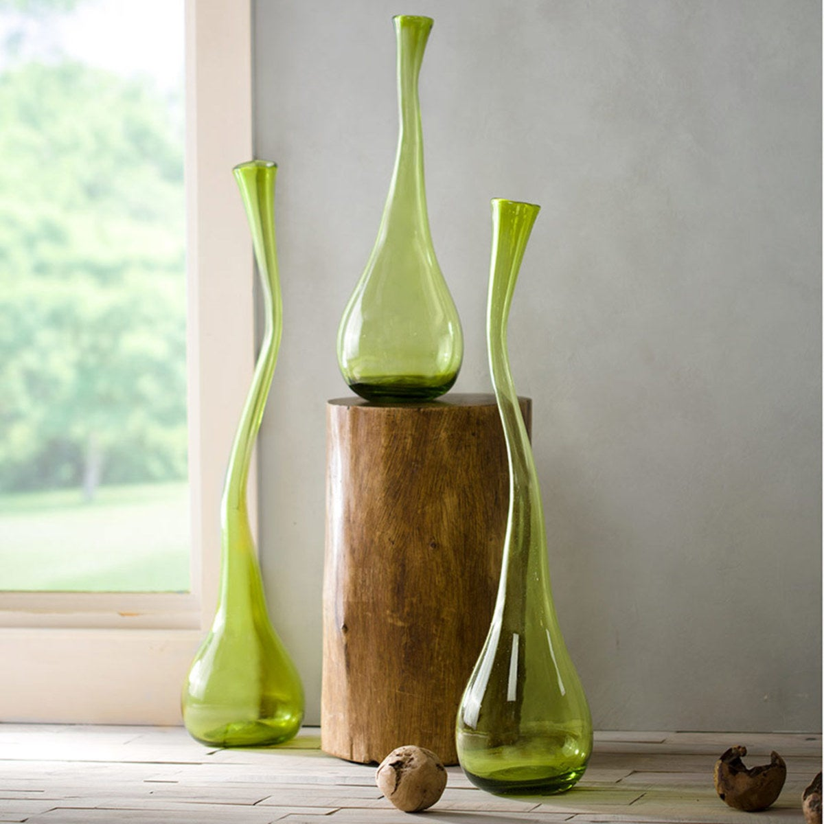 Recycled Glass Sprouting Vase, Set of 3 - Green