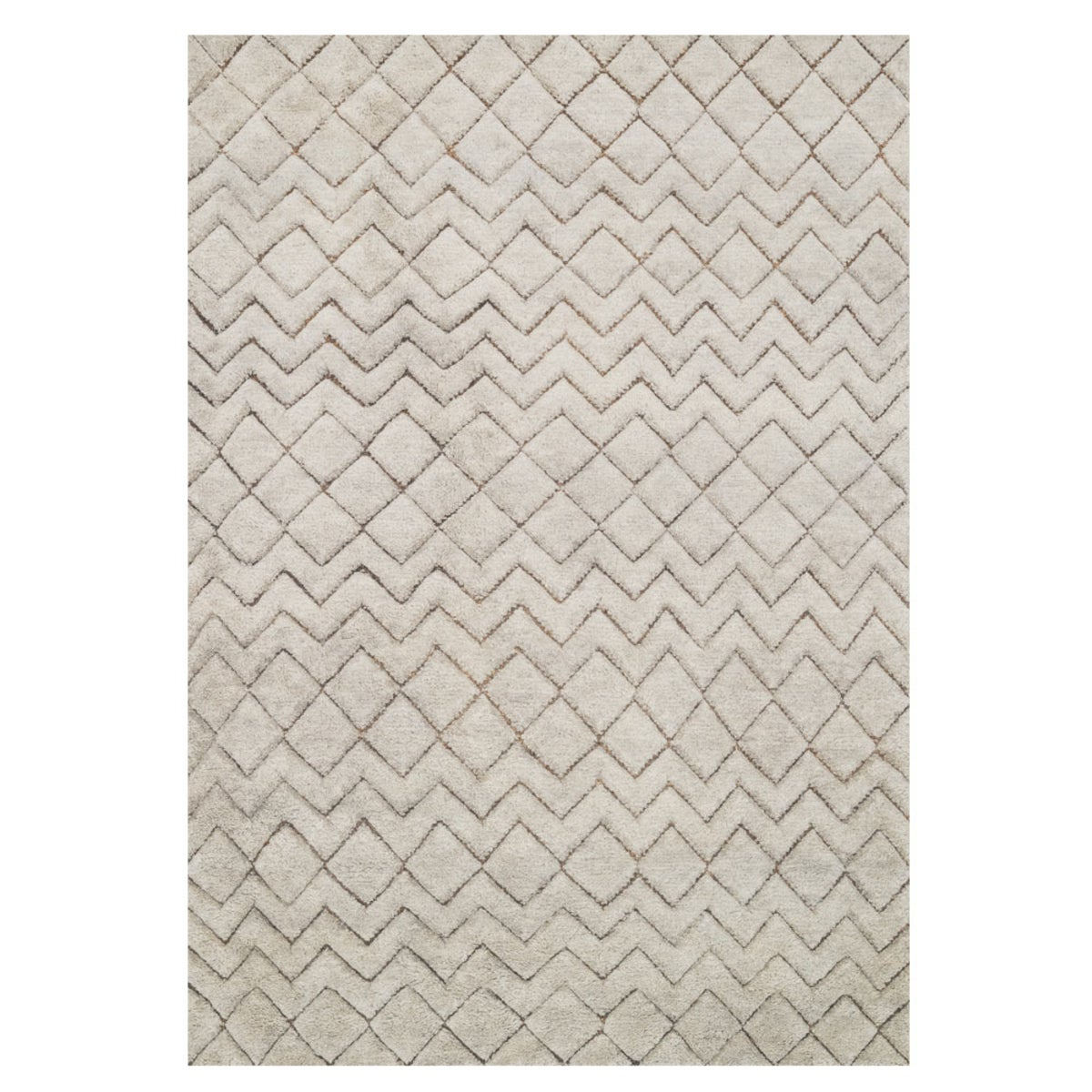 "Loloi Tanzania Just Zig Rug in Ivory - 5'6 x 8'6"" - Stone"