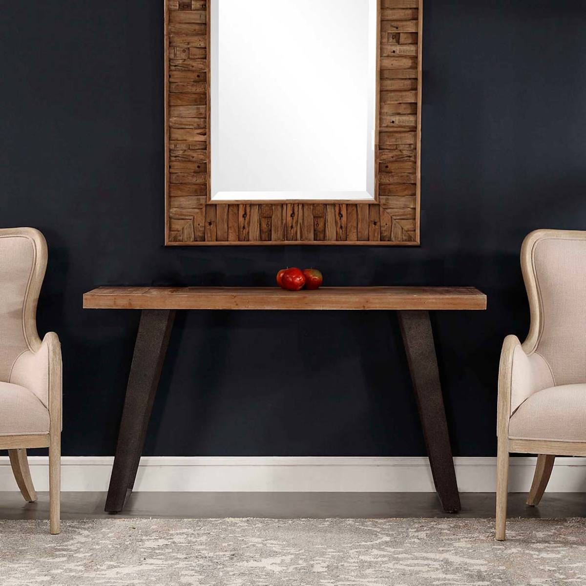 Fir Wood Console Table with Metal Legs