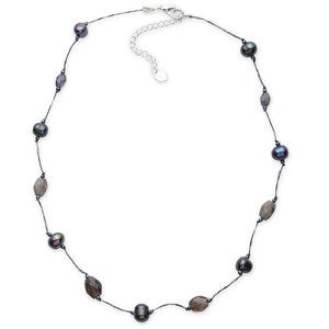 Silk Threaded Freshwater Pearl and Gemstone Necklace