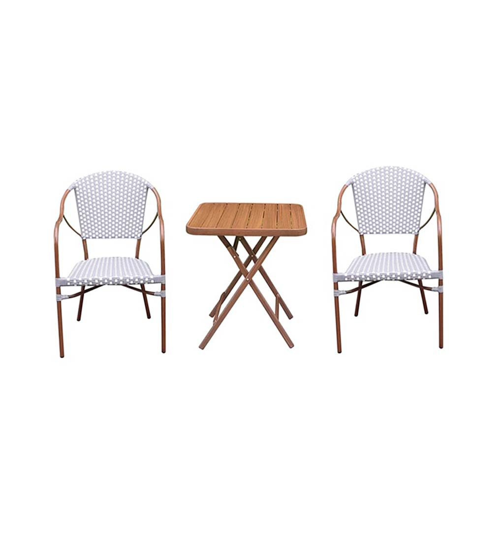 Resin Wicker Bistro Set with Folding Table, 3-Piece swatch image