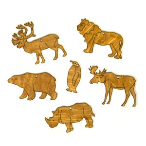 Olivewood Animal Ornament Set of 6