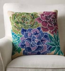 Succulent Hand-hooked Wool Pillow, Multi
