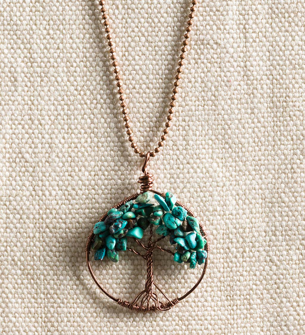 Tree of Life Necklace - Turquoise and Copper