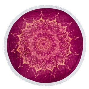 "Round Fringed Beach Blanket, 60"" dia. - Red"