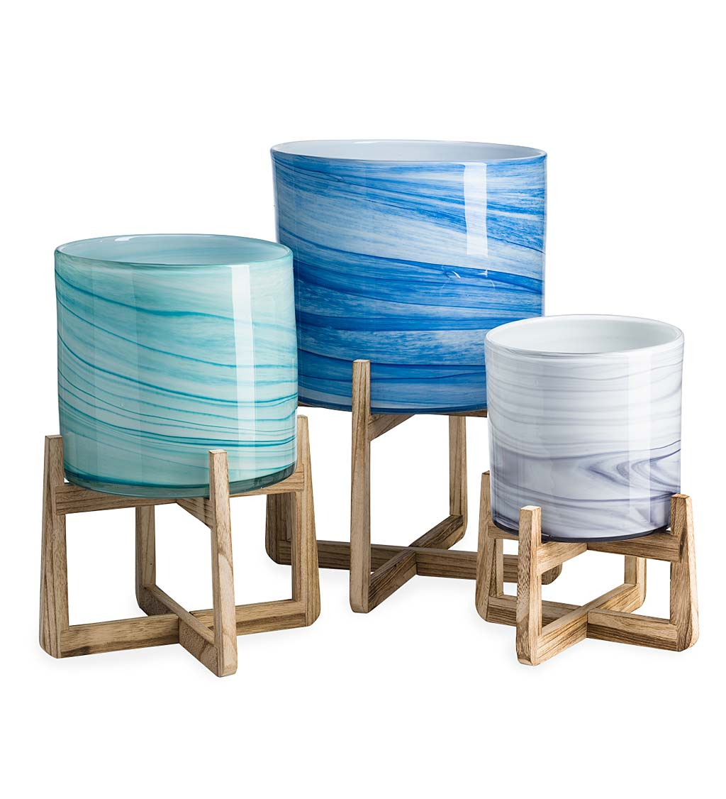 Glass Planters on Stand, Set of 3