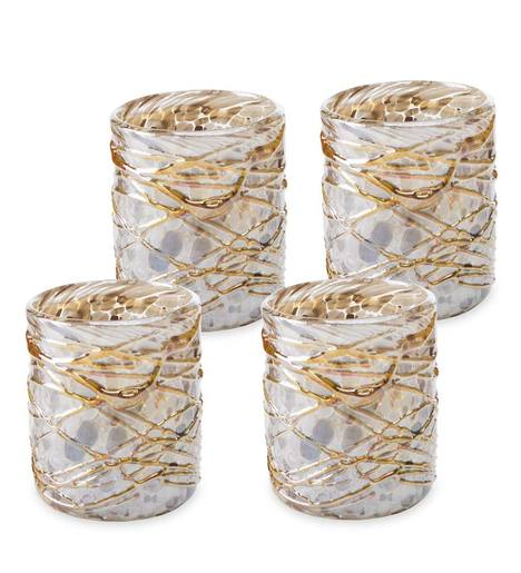 Shimmer Swirled Recycled Glass Short Tumblers, Set of 4