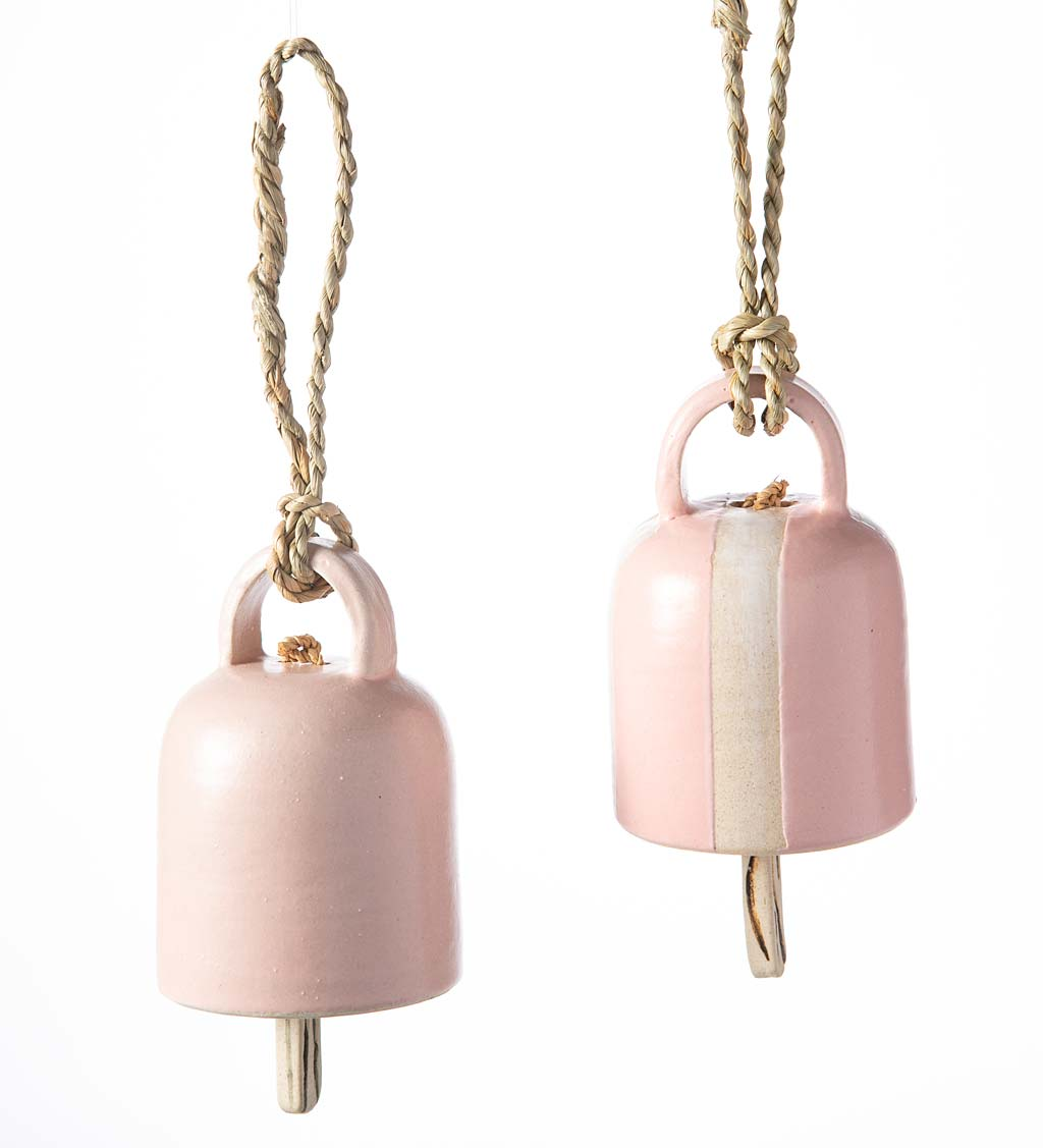 Artisan-made Petite Ceramic Bell Chimes, Set of 2
