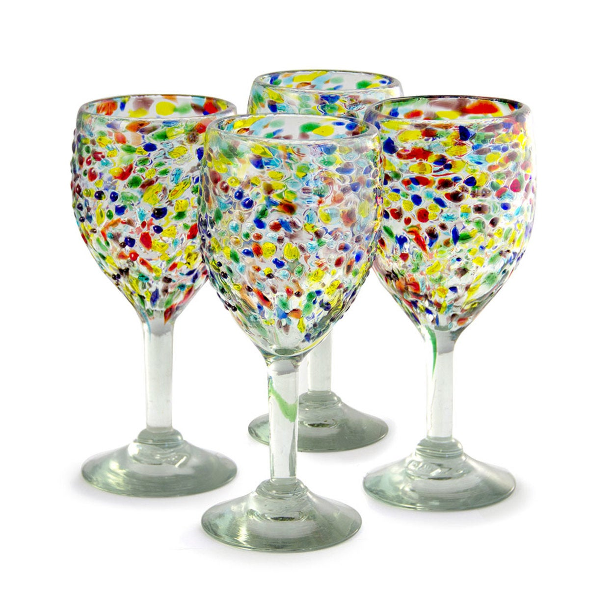 Confetti Recycled Wine Glass, Set of 4