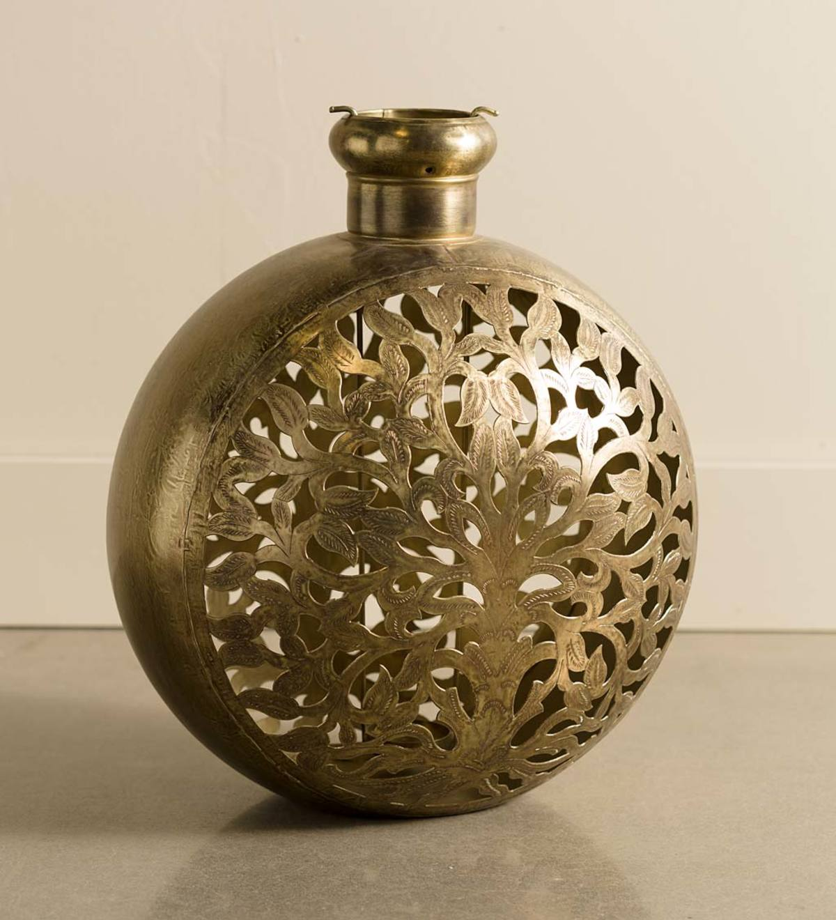 Large Handcrafted Tree of Life Metal Candle Lantern - Brass