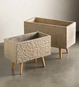 Rectangular Fiberclay Planters, Set of 2